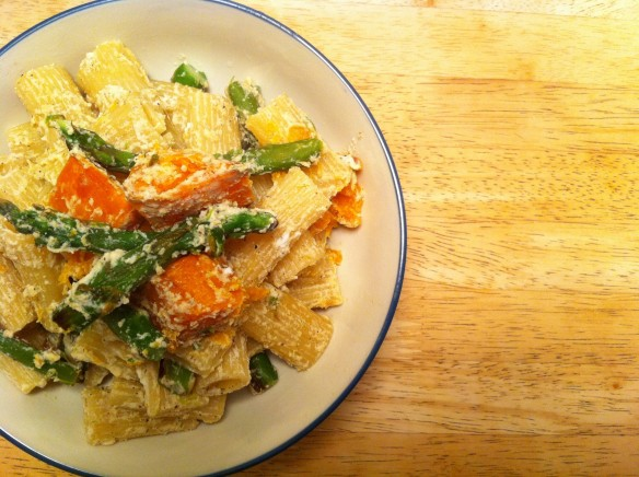 Butternut Squash and Asparagus with Rigatoni in a Ricotta Cream Sauce