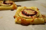 Apple, beet and white cheddar cranberry tarts.